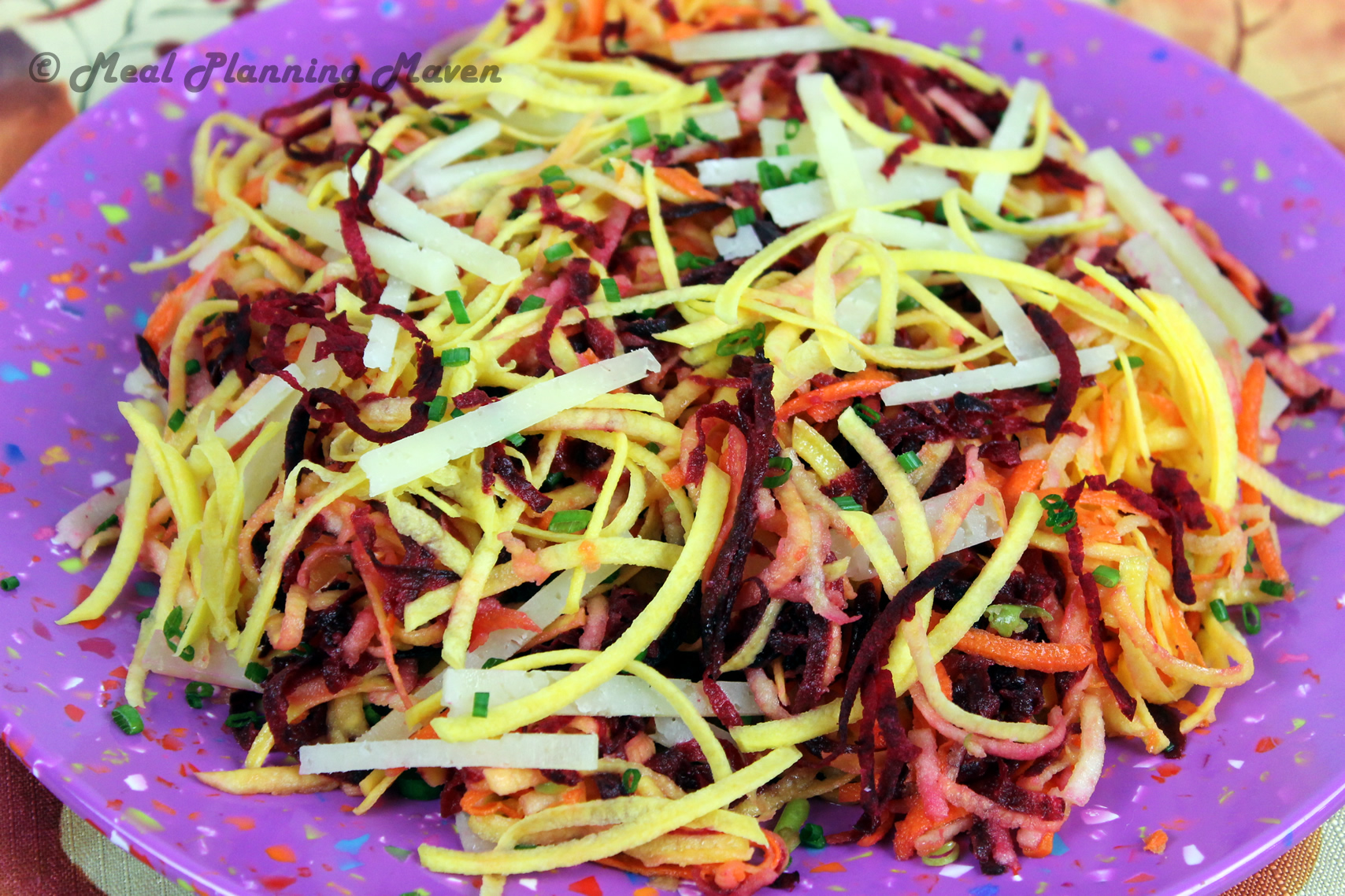 Apple 'n Root Veggie Slaw with Manchego - Meal Planning Maven