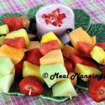 Mini Fruit Kabobs with Chunky Strawberry Yogurt Dip
