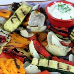 Grilled Vegetables with Yogurt-Tahini Dip