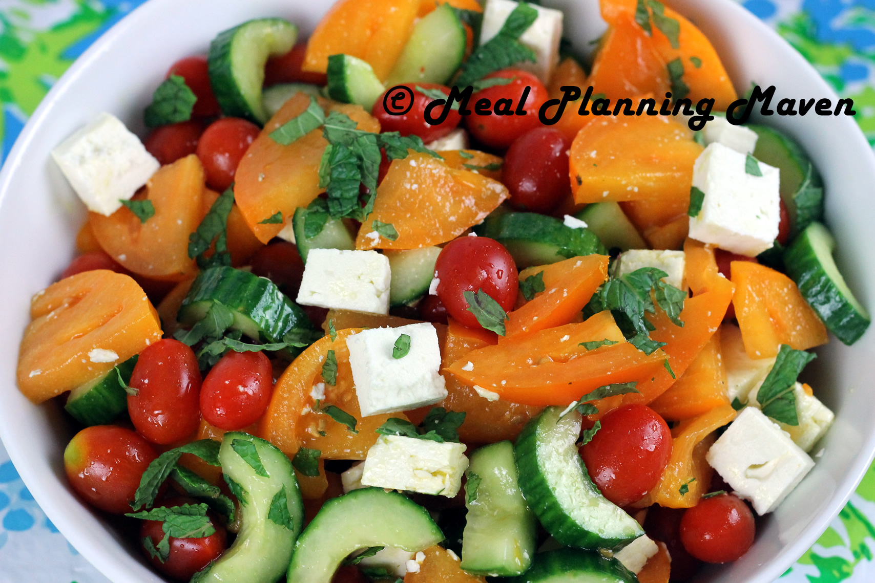 Israeli Salad with Mint and Feta - Meal Planning Maven
