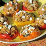 Roasted Mediterranean  Shrimp Stuffed Peppers