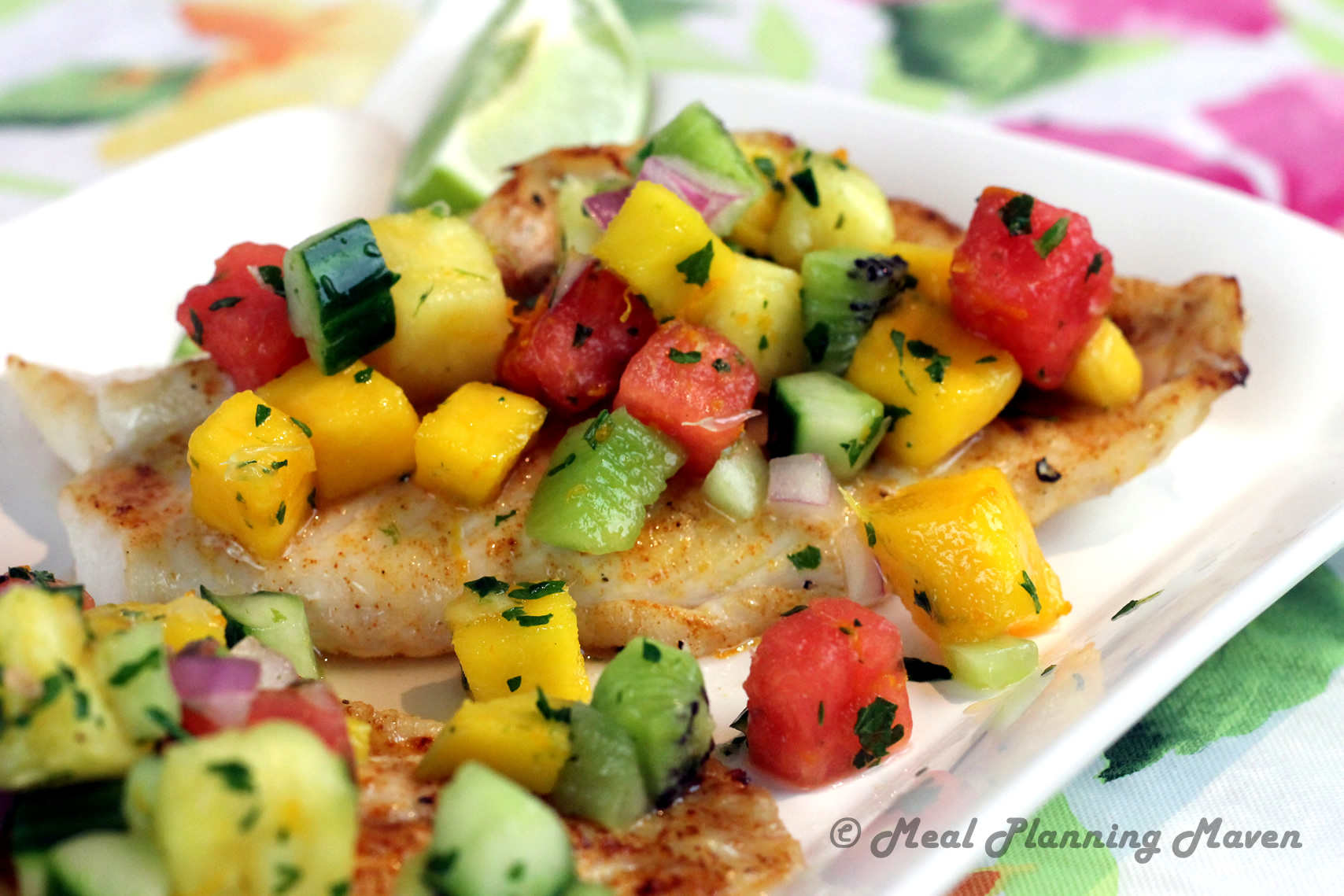Broiled grouper with tropical fruit salsa meal planning for Fruit salsa for fish