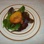 Baby Greens Salad with Roasted Peach and Honey Lime Vinaigrette