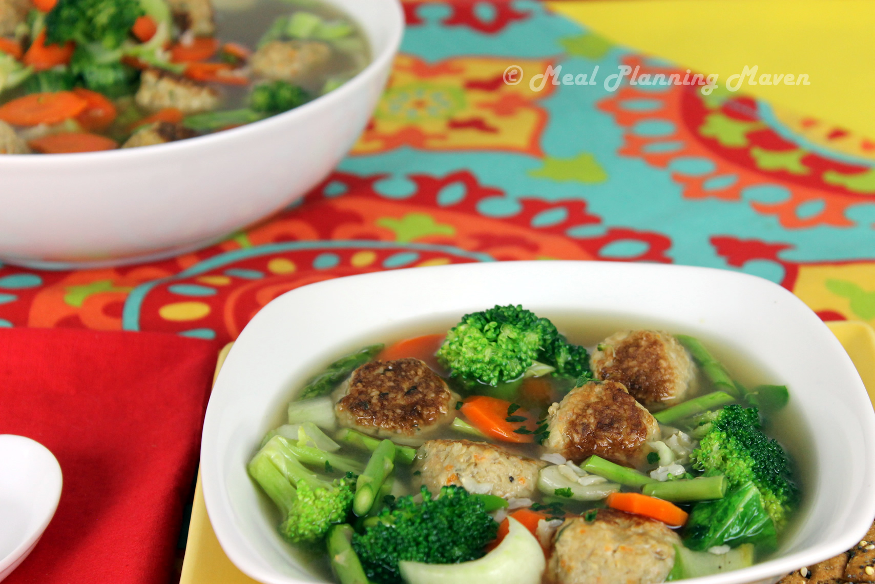 Tummy-Warming Mini Chicken Meatballs 'n Vegetable Soup