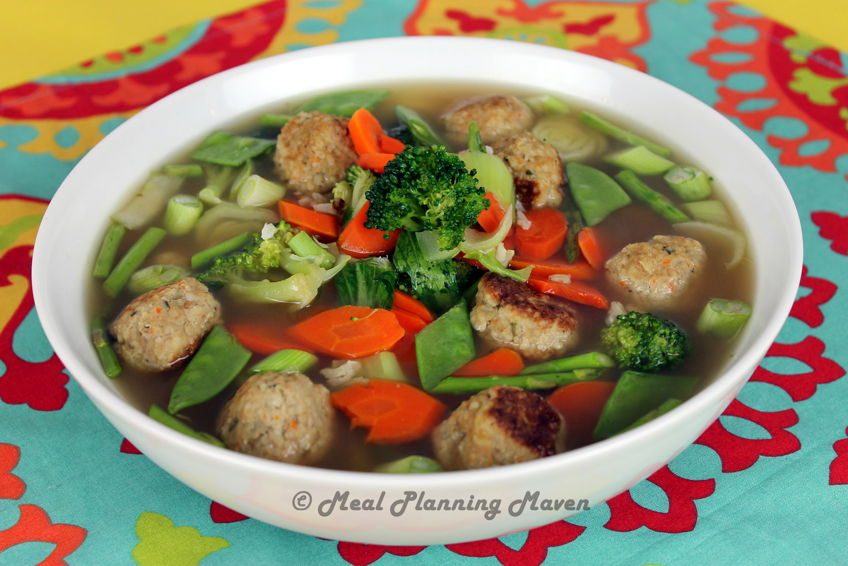 With this Chicken Meatball and Vegetable Noodle Soup recipe feel free to make changes. For instance you can change out the ditalini pasta with orzo, or you can add spinach or kale to it. You could even take it a step further and do all vegetables with no noodles.