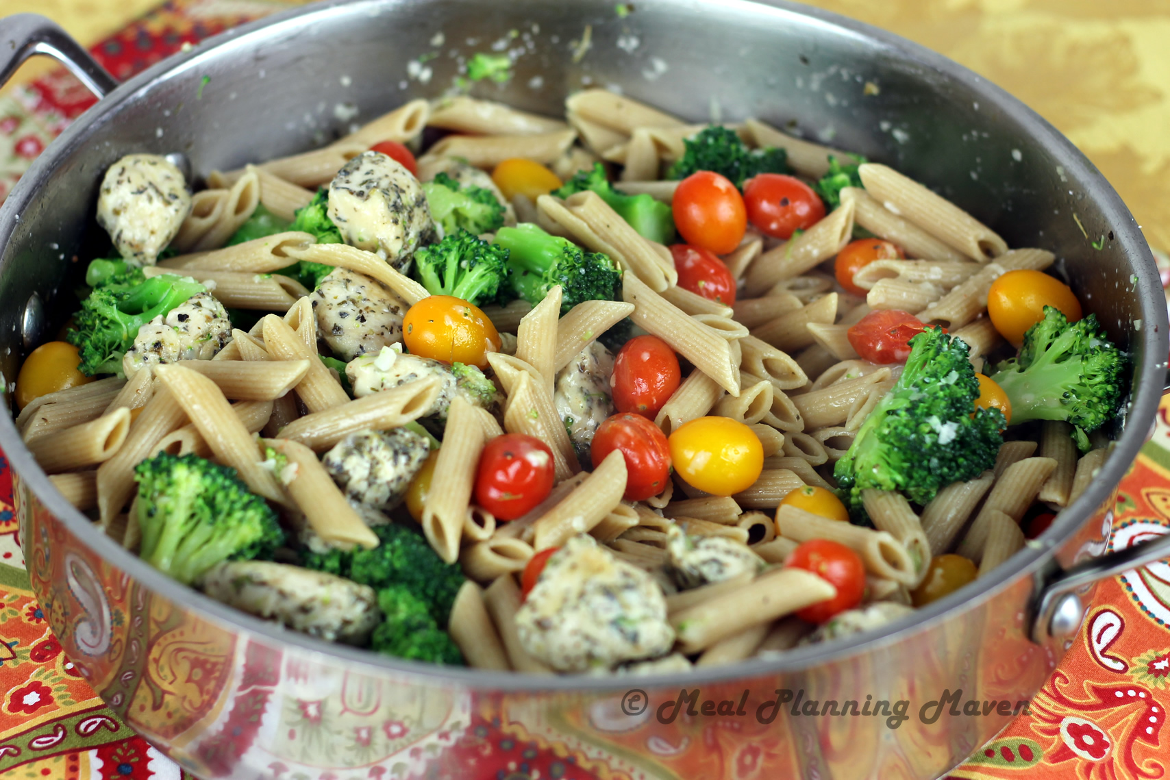 Garlicky Penne with Chicken, Broccoli 'n Grape Tomatoes - Meal ...