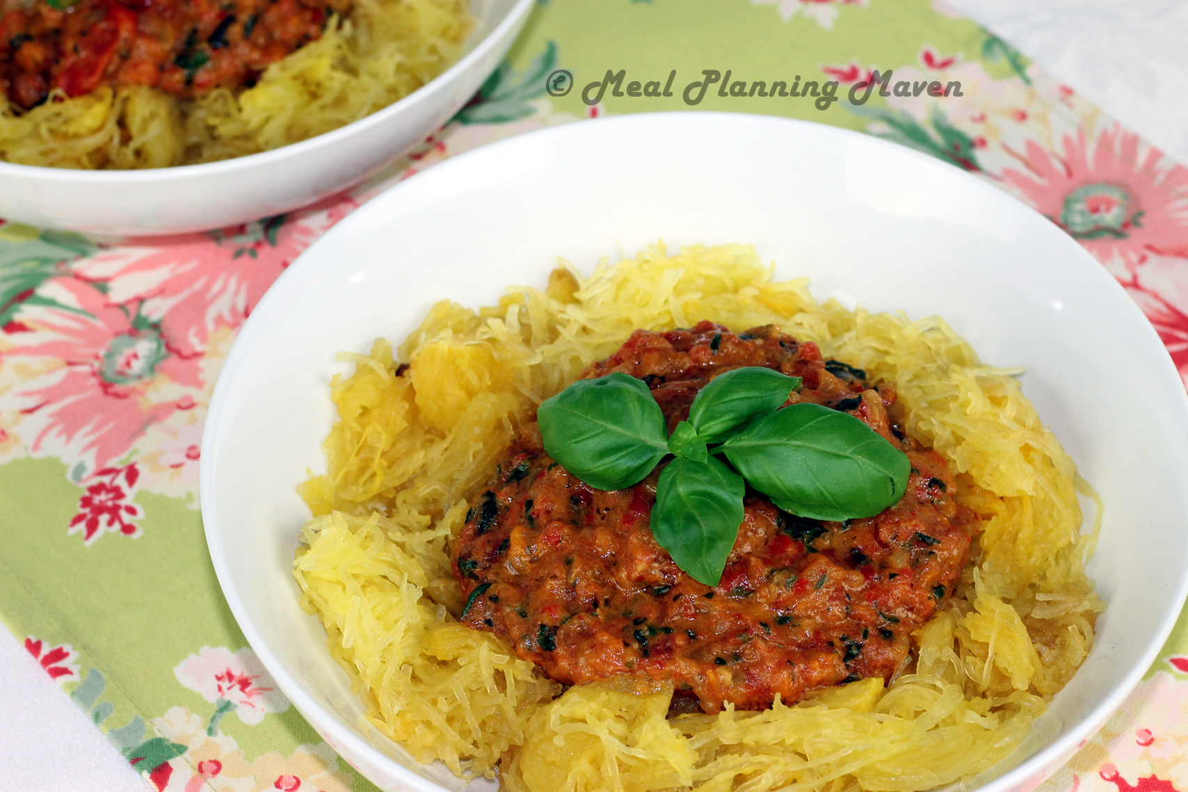 Spaghetti Squash with Chunky Roasted Bell Pepper Sauce - Meal Planning ...