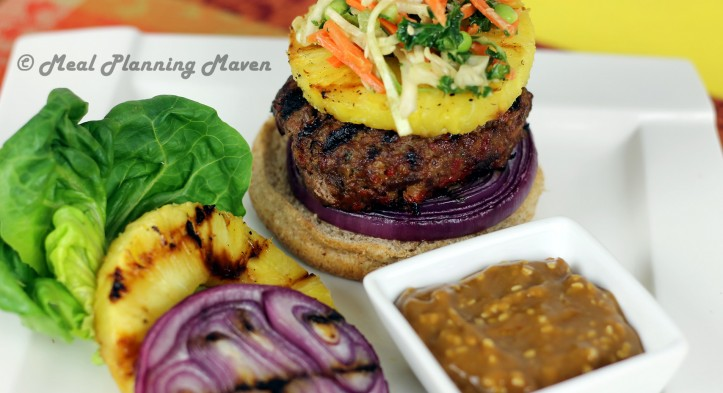 Grilled Asian Burgers 'n Pineapple with a Fantastic Slaw