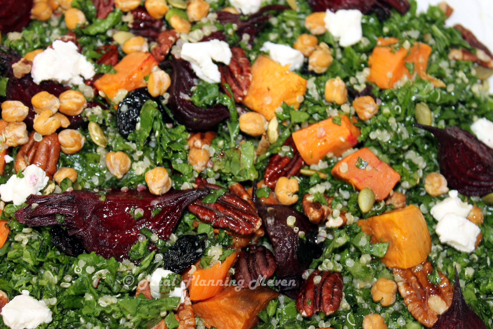 salad ingredients on top of combined kale and quinoa and drizzle salad ...