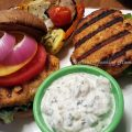 Grilled Salmon Burgers with Raita