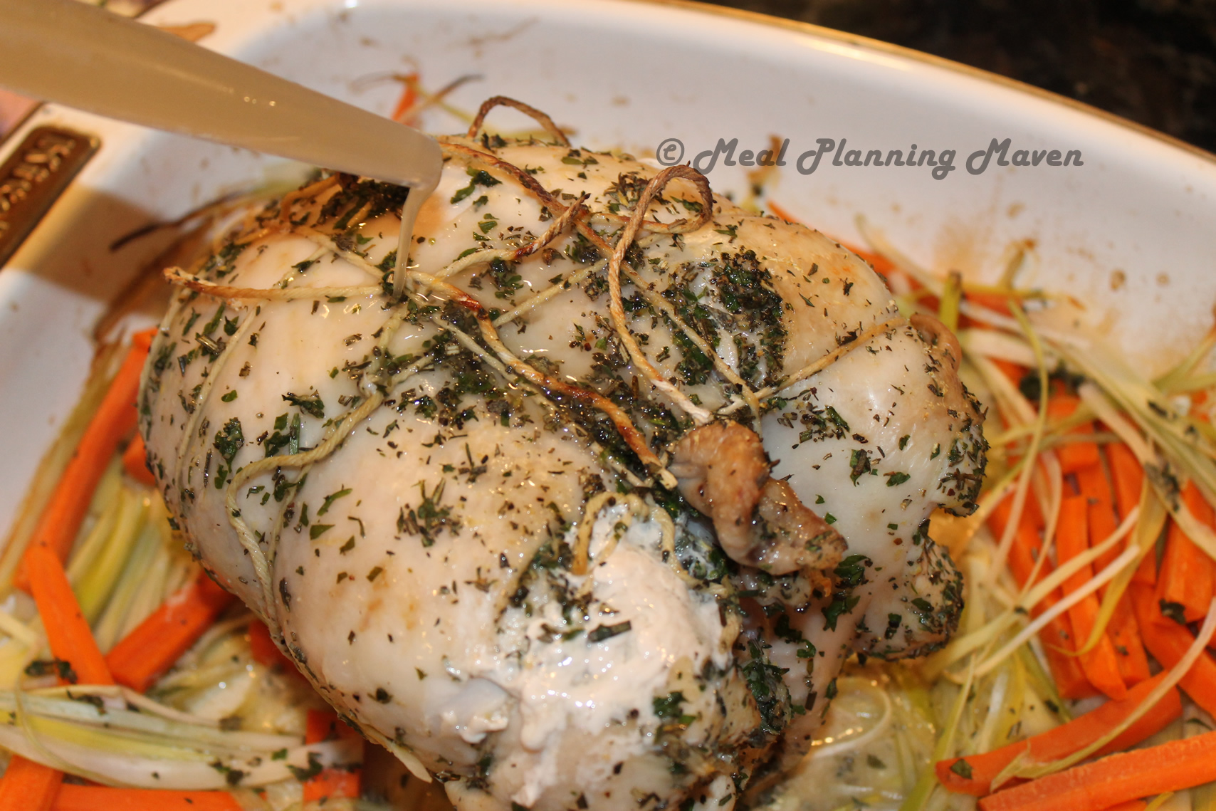 Stuffed turkey breast carrots garlic leeks